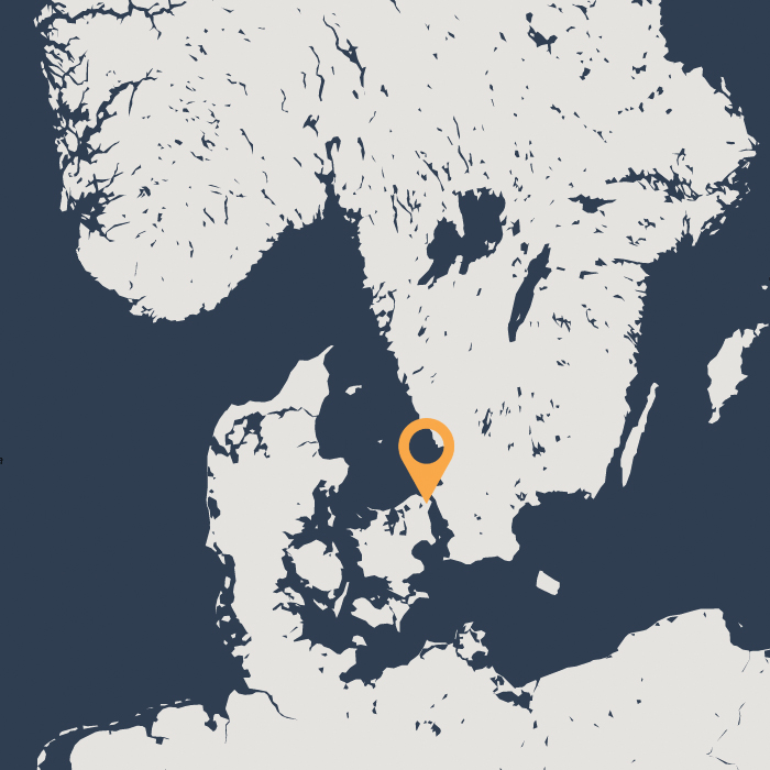 Elsinore pinpointed on a map of Southern Scandinavia